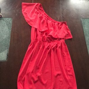 NWT Express Coral One Shoulder Dress sz S